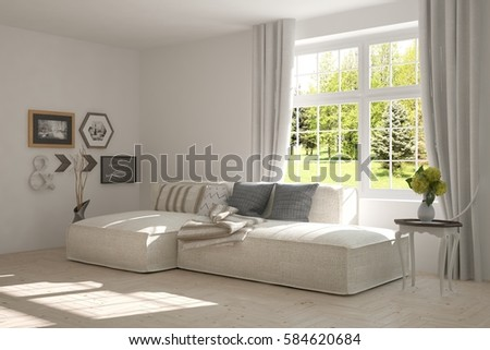 White room with sofa and green landscape in window. Scandinavian interior design. 3D illustration #584620684