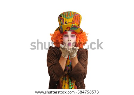 A positive and joyful Hatter isolated on white background