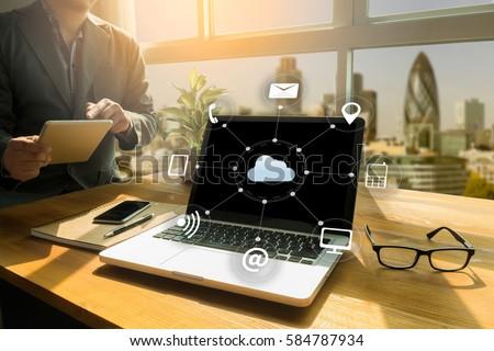 Cloud Computing diagram Network Data Storage Technology Service #584787934