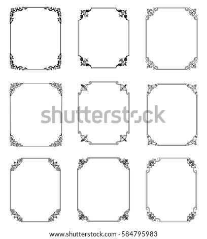 Big set of  thin vintage gold frame for your design. Vintage cover. Place for text. Vintage beautiful rectangular frame. Vector illustration. #584795983