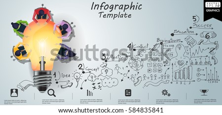 Businessman and Lady Brainstorm Brainstorm Success, modern Idea and Concept Vector illustration Infographic template with lamp,Lined pattern,graph,arrow, icon. Royalty-Free Stock Photo #584835841