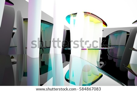 abstract architectural interior with colored smooth glass sculpture with black lines. 3D illustration and rendering #584867083