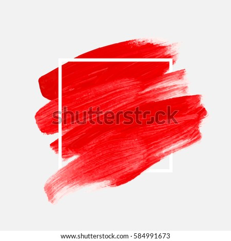 Logo brush painted watercolor background. Abstract brush paint texture design acrylic stroke poster over square frame vector illustration. Perfect design for headline, logo and sale banner.  #584991673