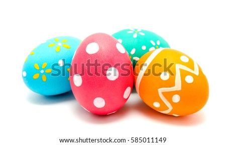 Perfect colorful handmade easter eggs isolated on a white Royalty-Free Stock Photo #585011149