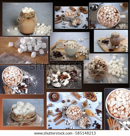 collage many photos drink hot chocolate #585148213
