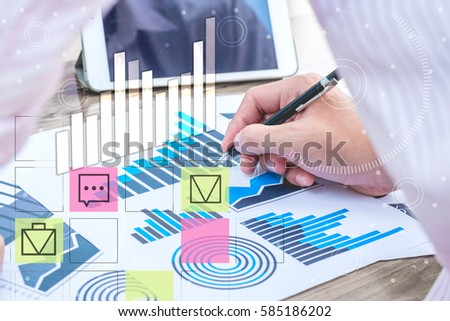 business statistics success concept : businessman analytics financial accounting market chart and graph line with business icon symbol ,selective focus.