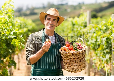 Portrait of happy farmer holding a basket of vegetables in the vineyard #585232928