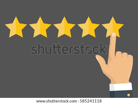Customer review concept. Vector. Rating golden stars. Feedback, reputation and quality concept. Hand pointing, finger pointing to five star rating.  #585241118