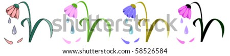 Four crying flowers isolated on white background #58526584