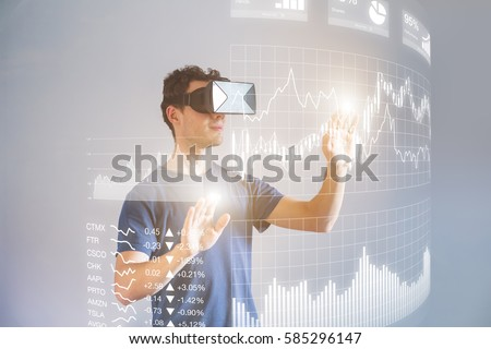 Person wearing virtual reality (VR) headset or head-mounted display (HMD) glasses to interact with financial dashboard with stock market key performance indicators (KPI) and business intelligence (BI)