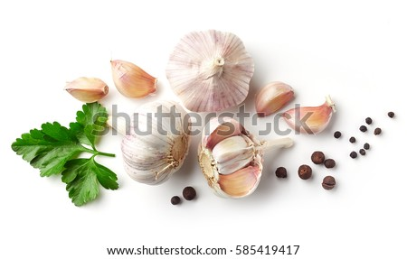 garlic, parsley and pepper isolated on white background, top view Royalty-Free Stock Photo #585419417