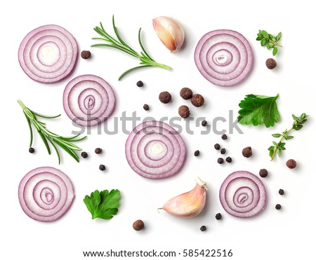 red onion and spices isolated on white background, top view Royalty-Free Stock Photo #585422516