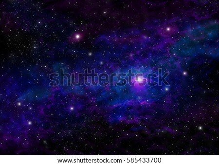 Night Sky with Stars and Purple/Blue Nebula. Space Background. Raster Illustration.  #585433700