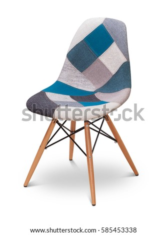 Patchwork armchair, chair, modern designer. Armchair isolated on white background. Series of furniture #585453338