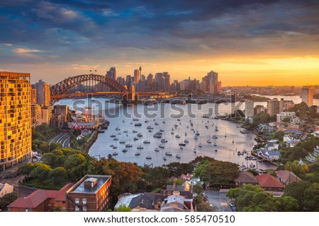 Sydney. Cityscape image of Sydney, Australia with Harbour Bridge and Sydney skyline during sunset. #585470510