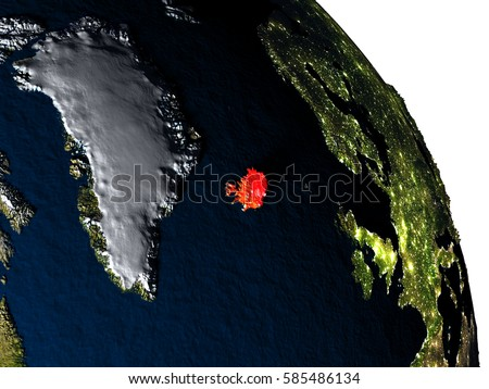 Iceland highlighted in red on model of planet Earth with very detailed land surface and visible city lights. 3D illustration. Elements of this image furnished by NASA. #585486134