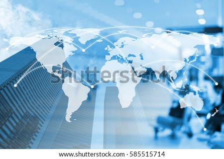 Double exposure city and global business network connection with dollar and trading graph. Elements of this image furnished by NASA Royalty-Free Stock Photo #585515714