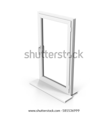 One door plastic window isolated on white. 3D illustration #585536999