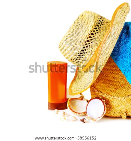 Beach items isolated on white conceptual image of summertime vacation #58556152