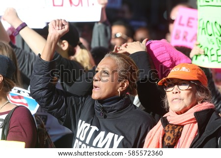 NEW YORK CITY - FEBRUARY 20 2017: More than ten thousand rallied along Central Park for a Not My Presidents Day event opposing the Trump Administration #585572360