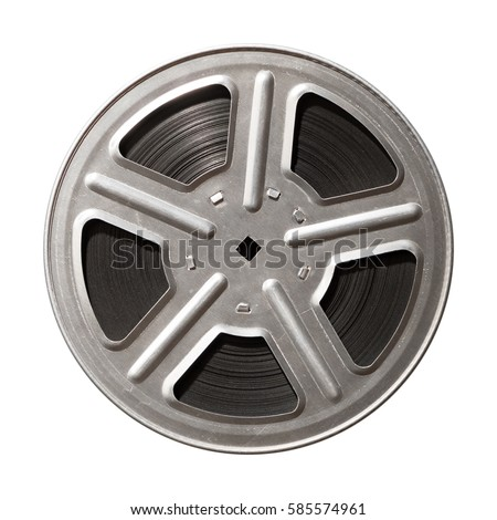 Film reel isolated on white background Royalty-Free Stock Photo #585574961