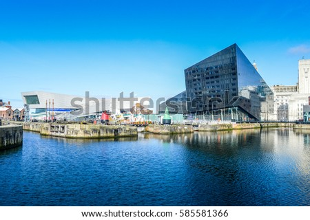 Liverpool, UK - 03 April 2015 - Museum of Liverpool and Open Eye Gallery view from Canning Dock #585581366