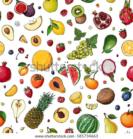 Pattern. Fresh food. Watermelon, cantaloupe, pomegranate, apricot, persimmon line drawn on a white background. Vector illustration. #585734663
