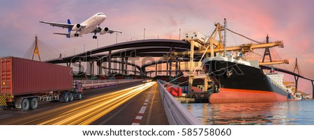 Panorama transport and logistic concept by truck boat plane for logistic Import export background Royalty-Free Stock Photo #585758060