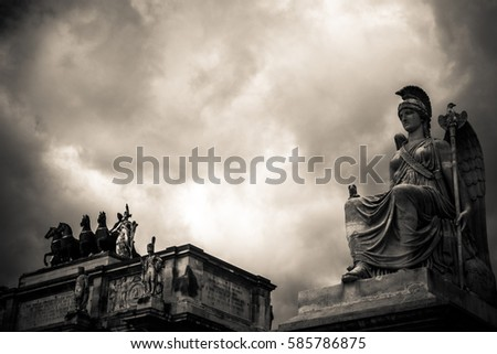Statues of Greek mythology with cloudy sky background in sepia #585786875