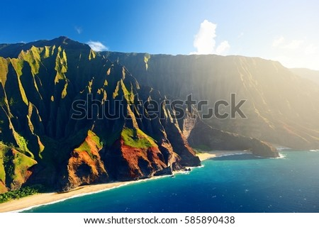 Beautiful aerial view of spectacular Na Pali coast, Kauai, Hawaii  #585890438