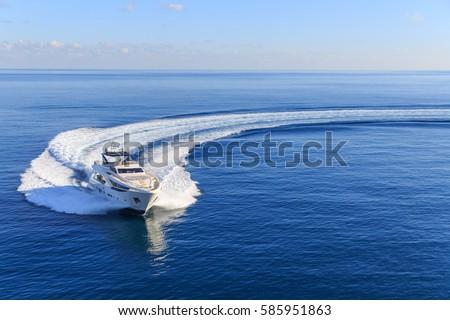 luxury yacht, aerial view italian shipyard   Royalty-Free Stock Photo #585951863