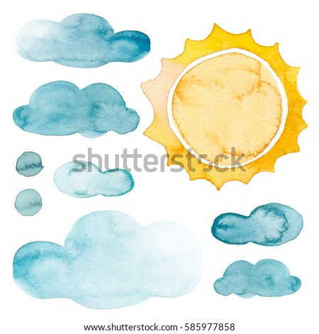 Yellow sun and blue clouds watercolor isolated weather set