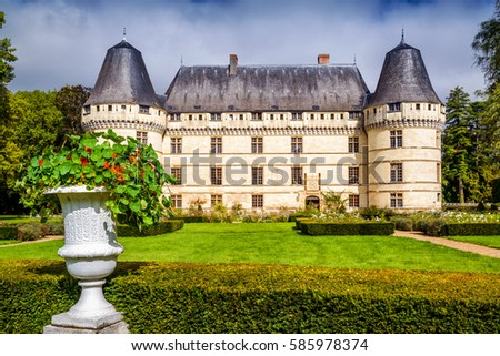 Chateau de l'Islette, France. This Renaissance castle is one of the main landmarks in the Loire Valley. Scenic view of the French castle in summer. Panorama of the old castle with beautiful garden. #585978374