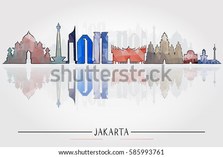 Business Travel and Tourism Concept with Historic Jakarta Architecture, vector illustration #585993761
