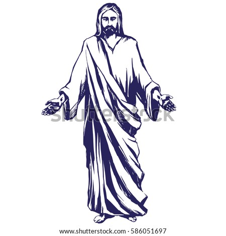 Jesus Christ, the Son of God , Messiah symbol of Christianity hand drawn vector illustration sketch