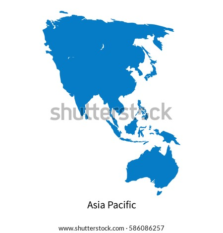 Detailed vector map of Asia Pacific Region on white Royalty-Free Stock Photo #586086257
