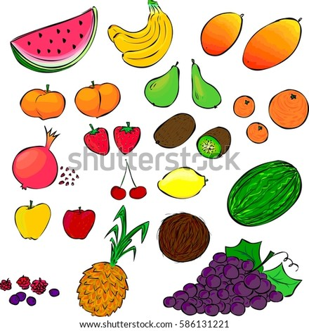 Different types of fruit, healthy food #586131221