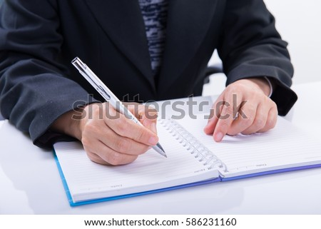 Business woman working with documents in office #586231160