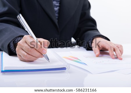 Business woman working with documents in office #586231166