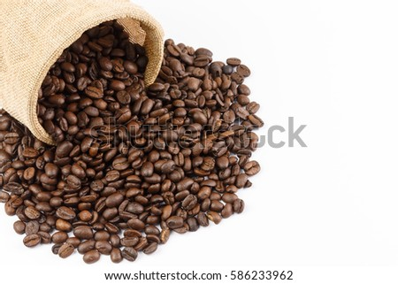 roasted coffee beans and coffee beans isolate on white background #586233962