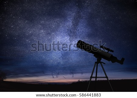 Silhouette of telescope and starry night sky in background. Astronomy and stars observing concept. Royalty-Free Stock Photo #586441883