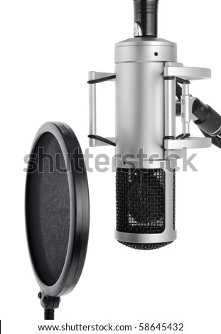 Vocal recording setup containing a professional microphone and pop filter on white background