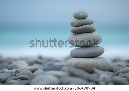 Sea pebbles tower closeup