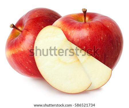 Isolated apples. Two red apple fruit with slices (cut) isolated on white with clipping path #586521734