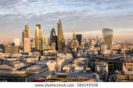 The new skyline of London at sunset time #586549508