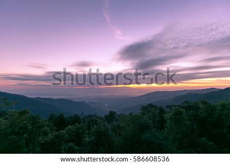 Beautiful landscape of sunrise view at Nan, Thailand. The most popular place for tourists in winter of Thailand #586608536