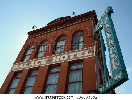 Outside the Palace Hotel in Cripple Creek, Colorado  #586633382