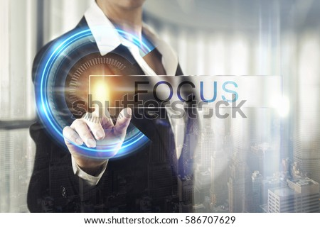Business women touching the focus screen #586707629