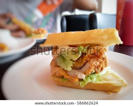Chicken waffle burger #586862624