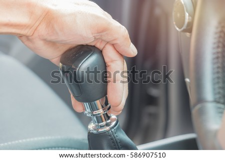 hand on the shift manual transmission  #586907510